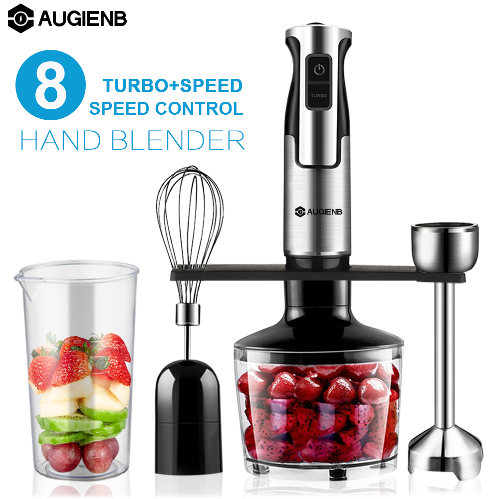 AUGIENB HB-105SD 4-In-1 Stainless Steel Immersion Hand Blender Set,600W 2 Switch Options With 8 Variable Speed Control Mixer