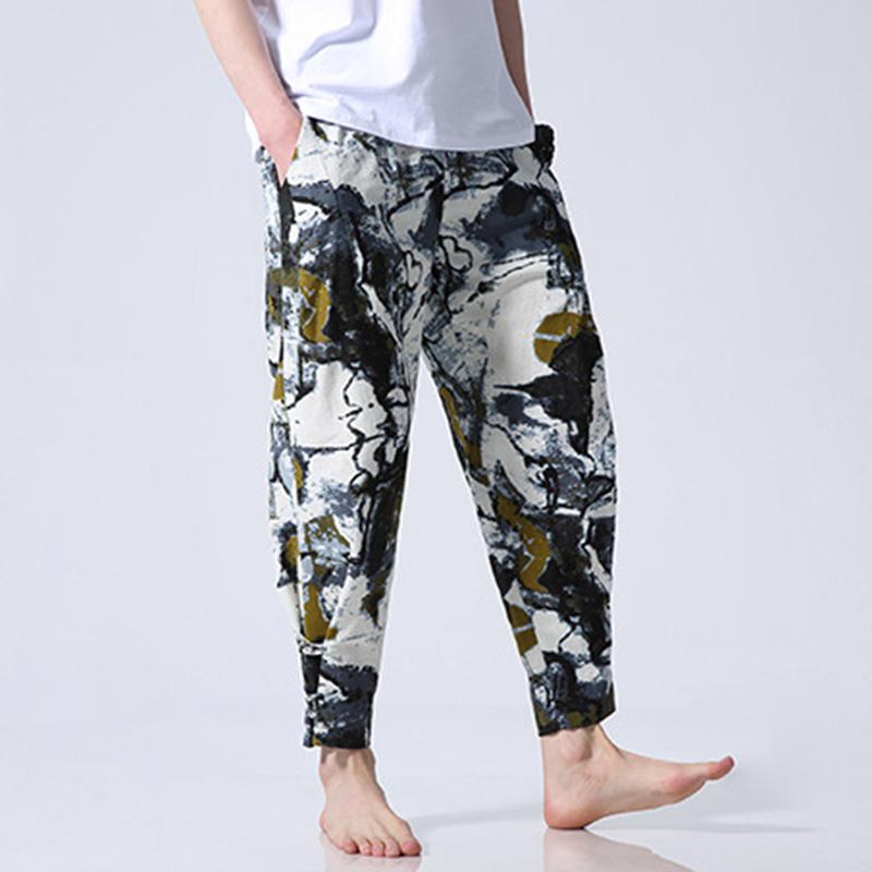 Mens Cotton Ethnic Style Loose S-5XL Elastic Waist Pants