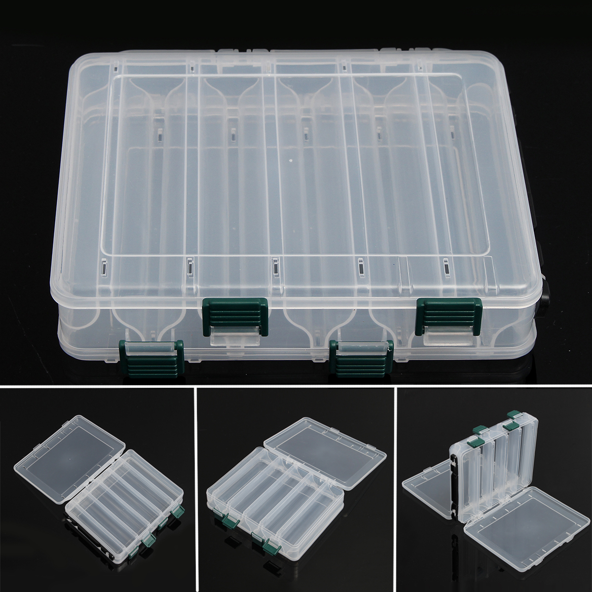 12 Grids Storage Box Double Sided Waterproof Clear Plastic Case