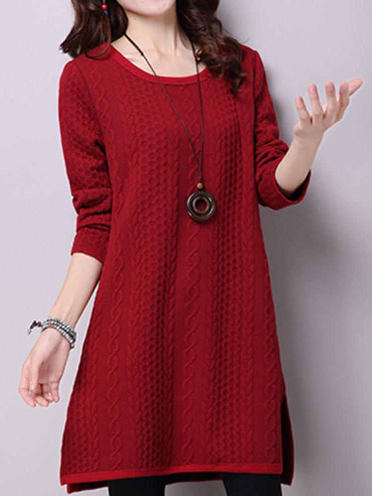 Women Jacquard Pure Color Long Sleeve Side Slit Casual Mini Dress