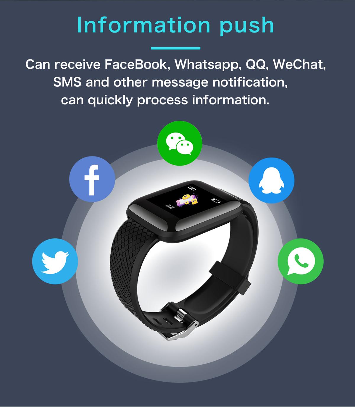 Bakeey 116 Plus 1.3' Custom Dial Dynamic Blood Pressure Oxygen Message Push Multi-language Smart Watch 41