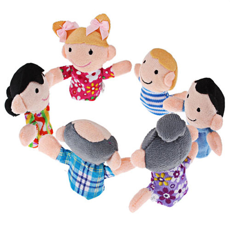 6 pcs/lot Stuffed Plush Toy Family Finger Puppets Set Boys Girls Educational Hand Toy Bedtime Story