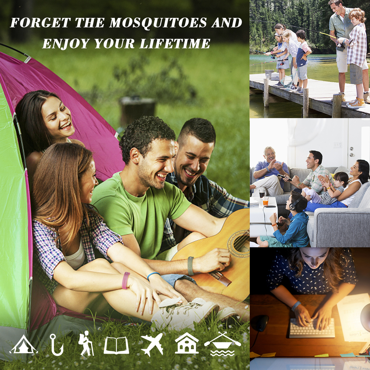 12pcs Fiber Mosquito Repellent Bracelet Natural Plant-based