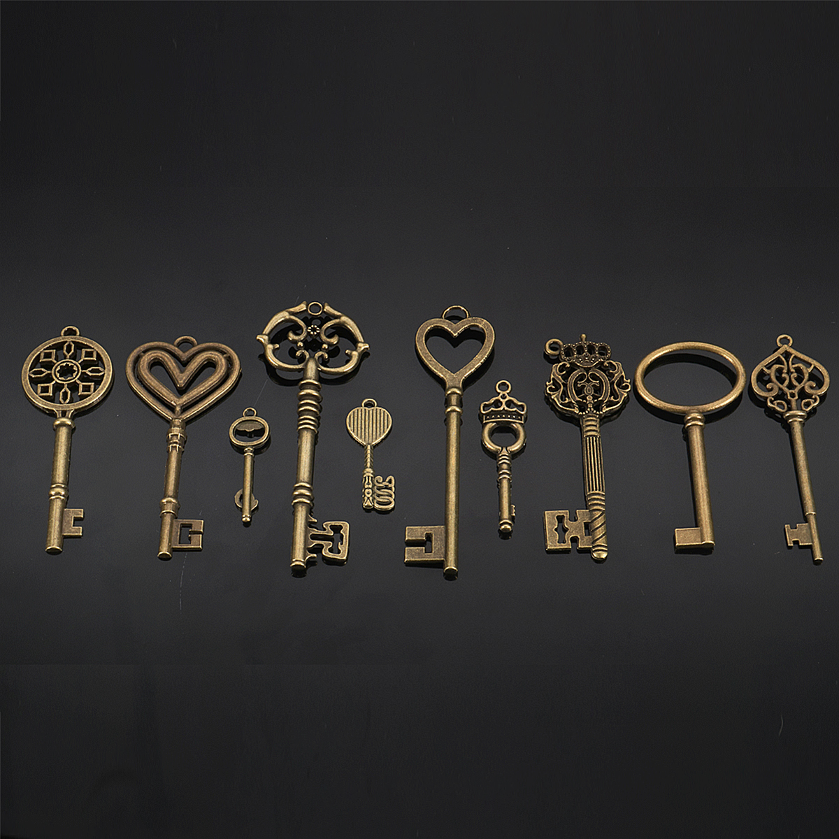 10Pcs Mixed Bronze Key Necklace Pendant Charm DIY