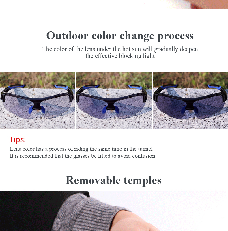WHEELUP Photochromic Glasses Riding Sports Discoloration Len Sunglasses Windproof Goggles