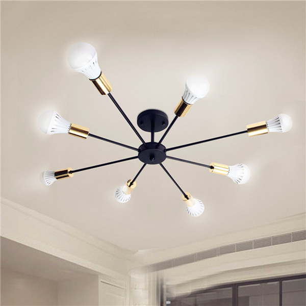 E27 8 Heads Vintage Industrial Edison Chandelier Metal Flush Mount LED Ceiling Lights AC 85-265V