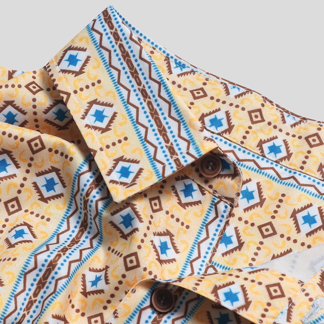 Men Ethnic Pattern Print Vintage Chest Pocket Holiday Shirts