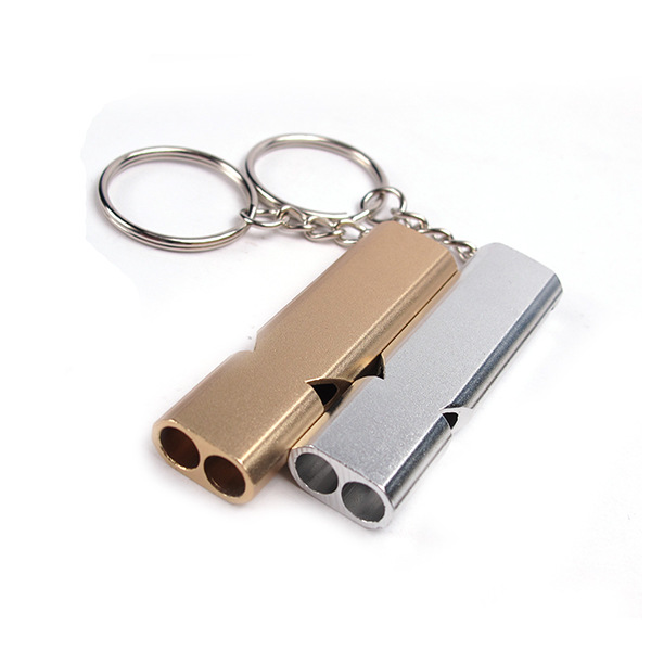 IPRee Outdooors Survival Whistle Emergency Self Rescue Double-Barrelled Whistle Aluminum Alloy