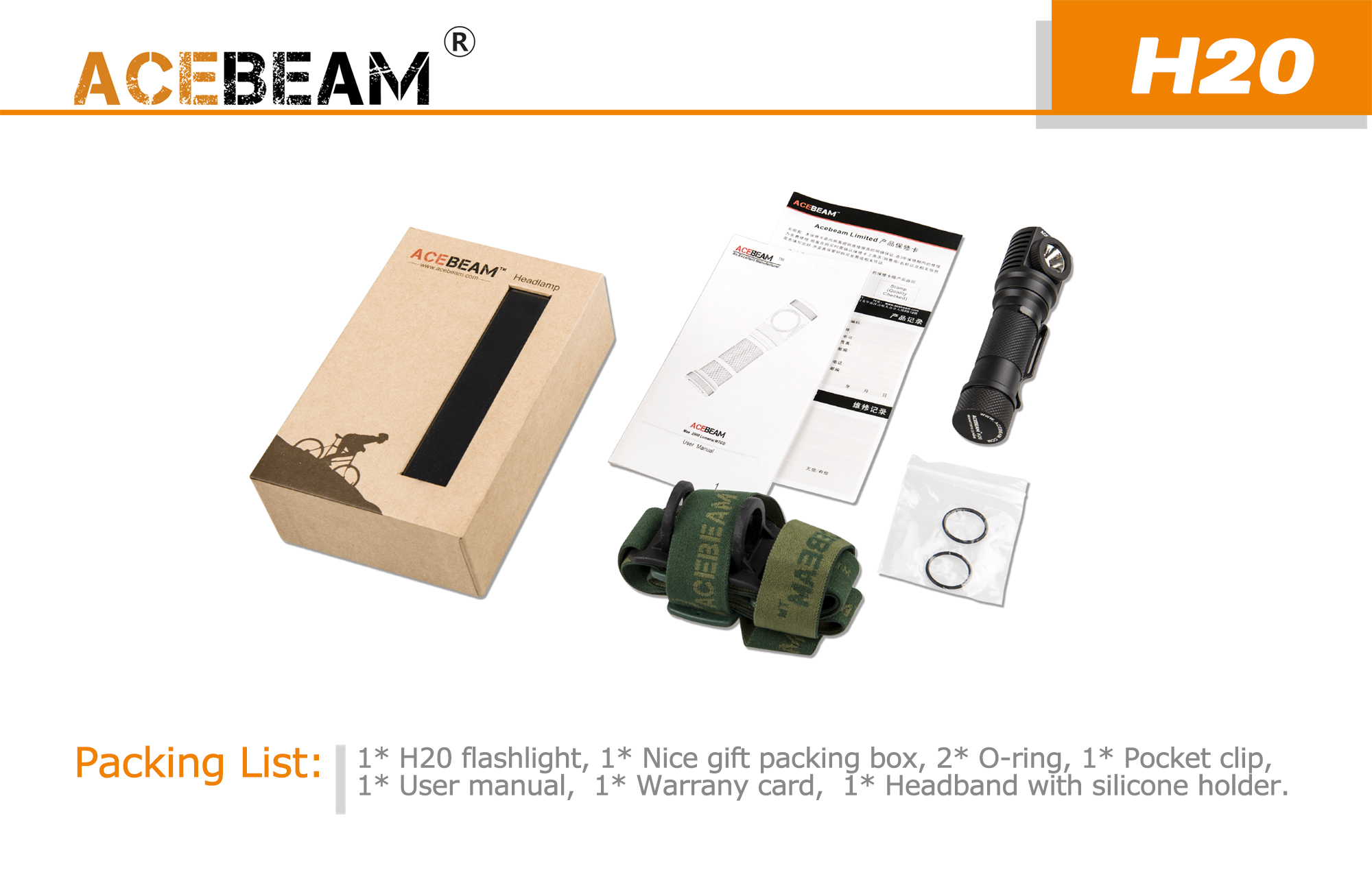 Acebeam H20 XPL HI 1000Lumes 5Modes LED Flashlight+Headlamp