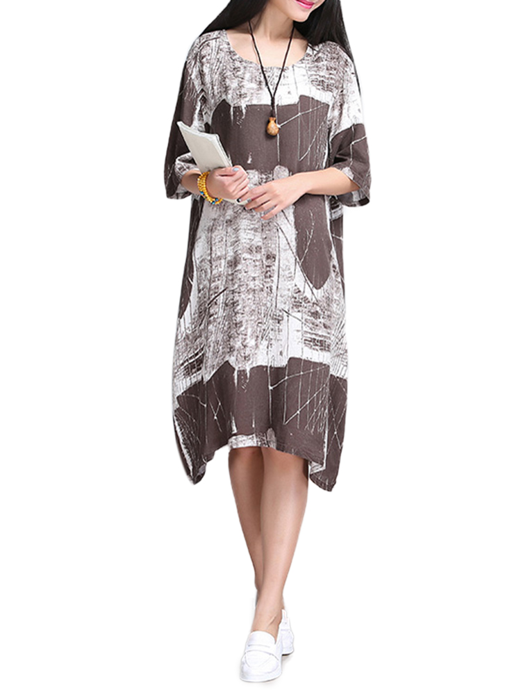 Women Vintage Painting Printed Linen High Low Swing Dress