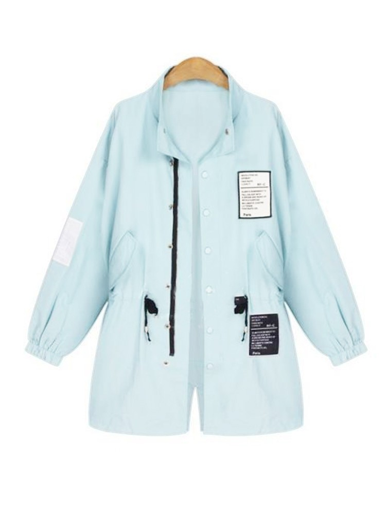 Casual Letter Patchwork Stand Collar Loose Women Jacket Coat