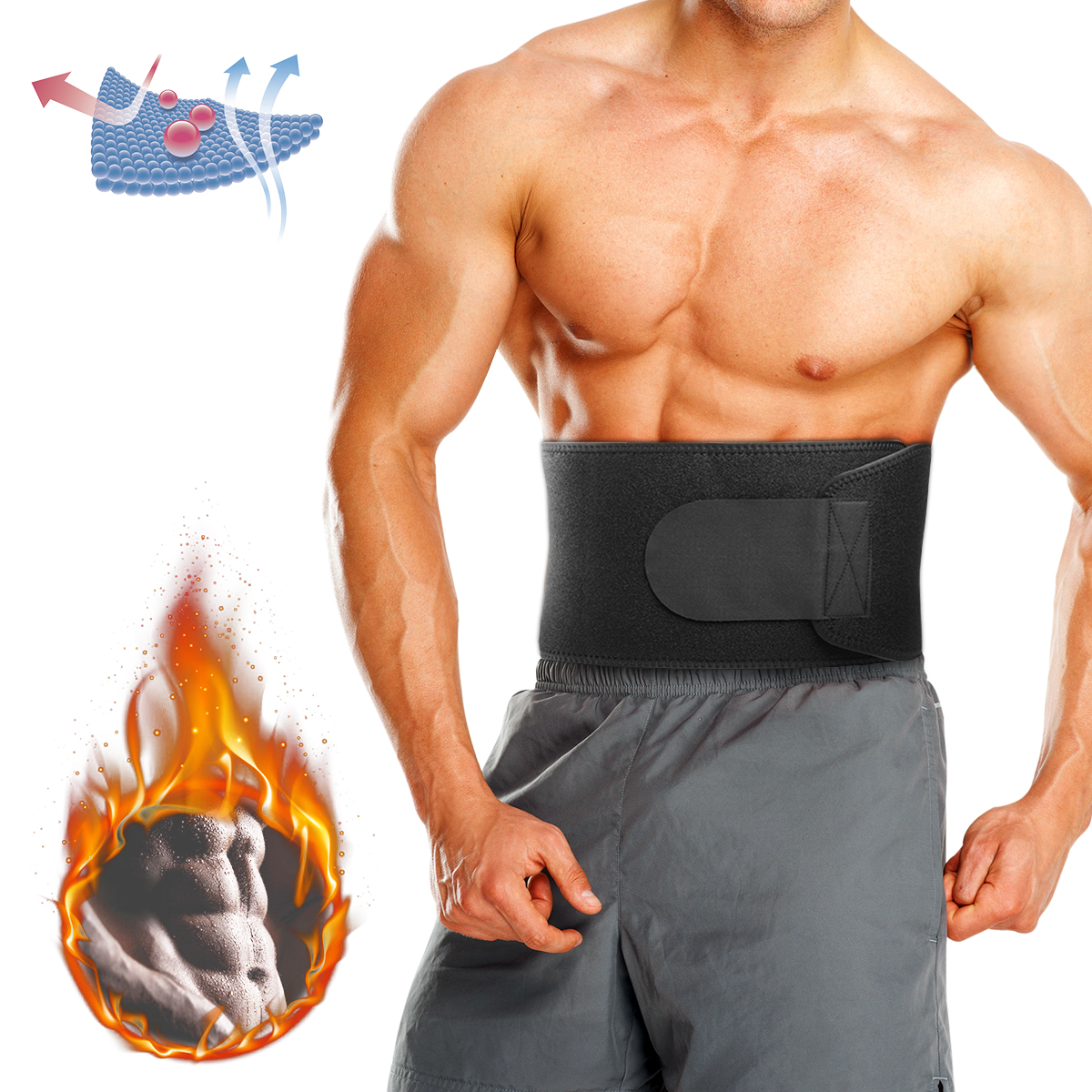 BIKIGHT Adjustable Waist Support Fitness Belt Sport Protection Back Absorb Sweat Fitness Protective Gear
