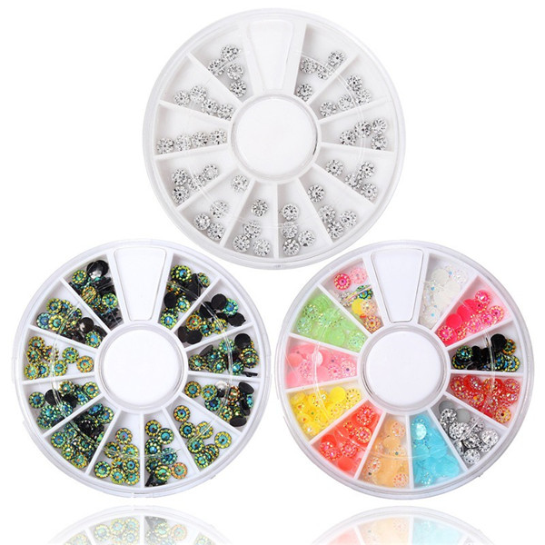 3 Colors Glitter Nail Art Tips Decoration Round Wheel Rhinestones Manicure DIY