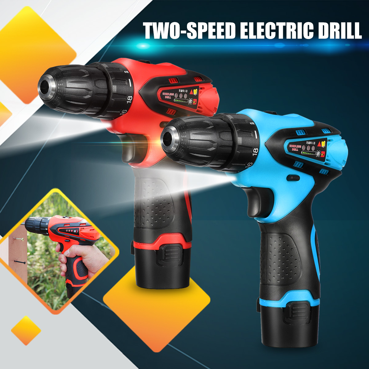 VOTO 12V 680W Cordless Screwdriver 2 Speed Electric Drill Lithium Battery Power Drills