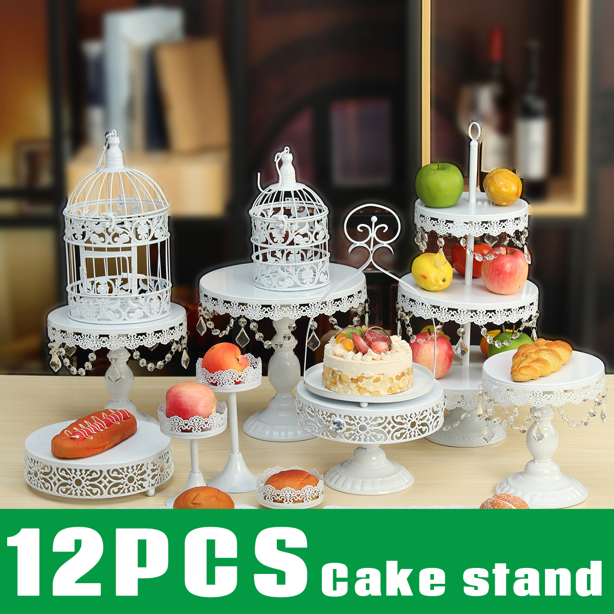 12Pcs/Set Crystal Cake Holder Cupcake Stand Birthday Party Wedding Display Decorations