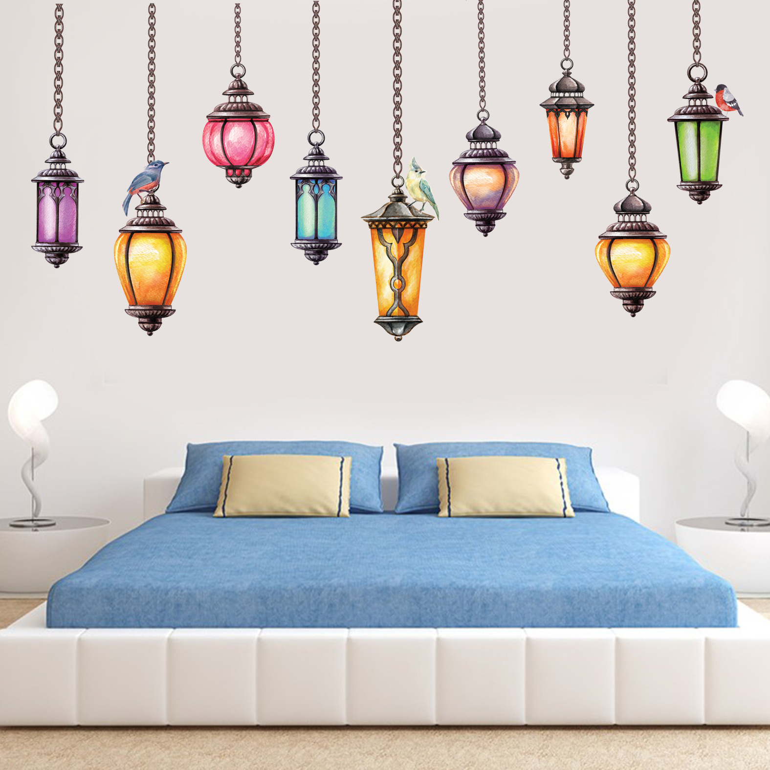 Miico Creative Colorful Exotica Ceiling Lamps PVC Removable Home Room Decorative Wall Door Decor Sticker