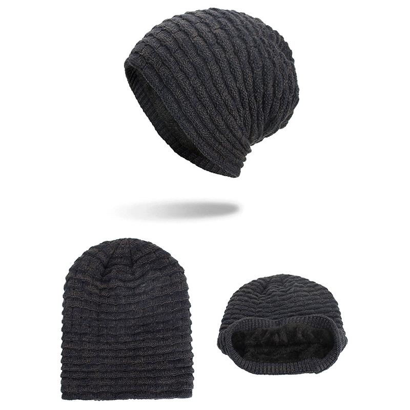 Men Women Special Stripe Plus Velvet Knitted Hat Beanie Caps