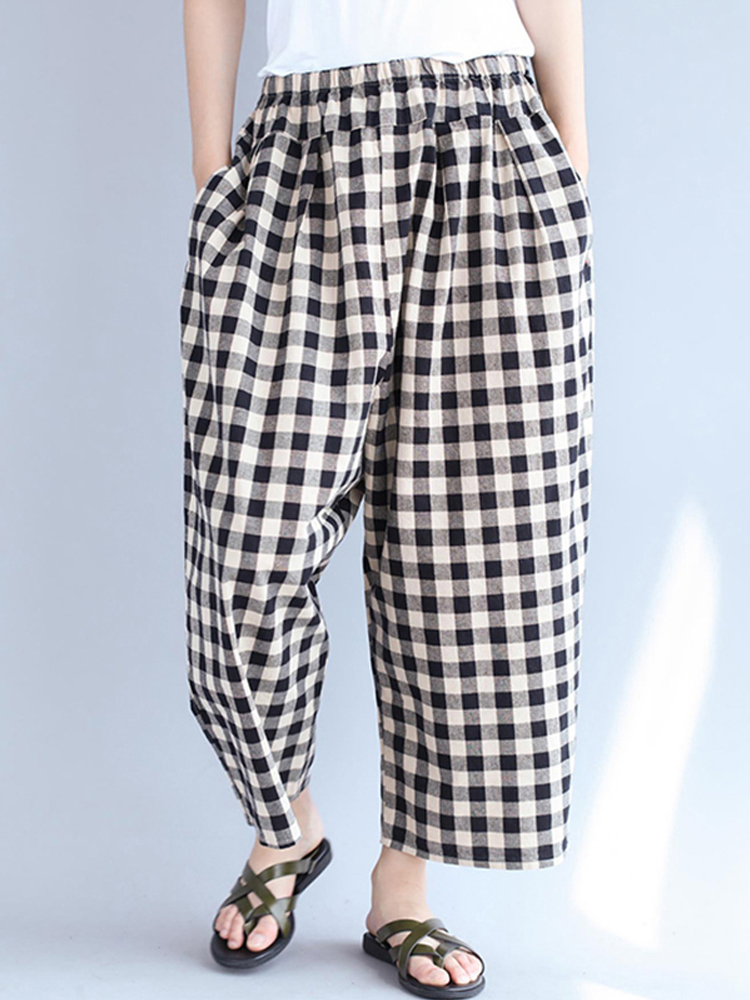 Loose Cotton Plaid Pants