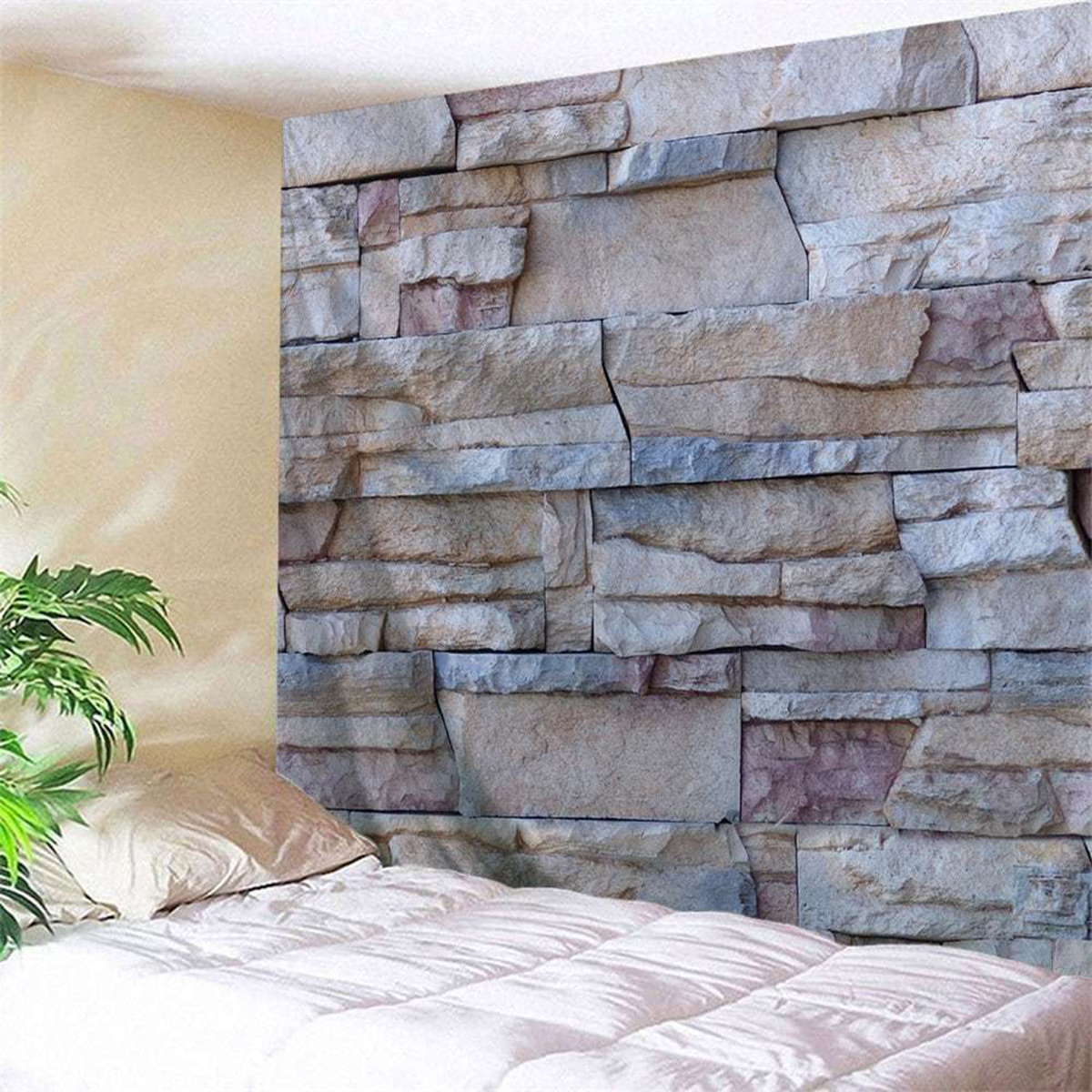 3D Brick Stone Pattern Psychedlic Tapestry Room Bedspread Wall Hanging Throw Decorations