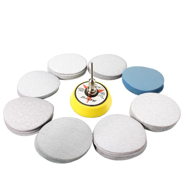 2/3 Inch Hook and Loop Sanding Pad 3mm Shank with 80pcs 80 to 7000 Grit Sand Paper
