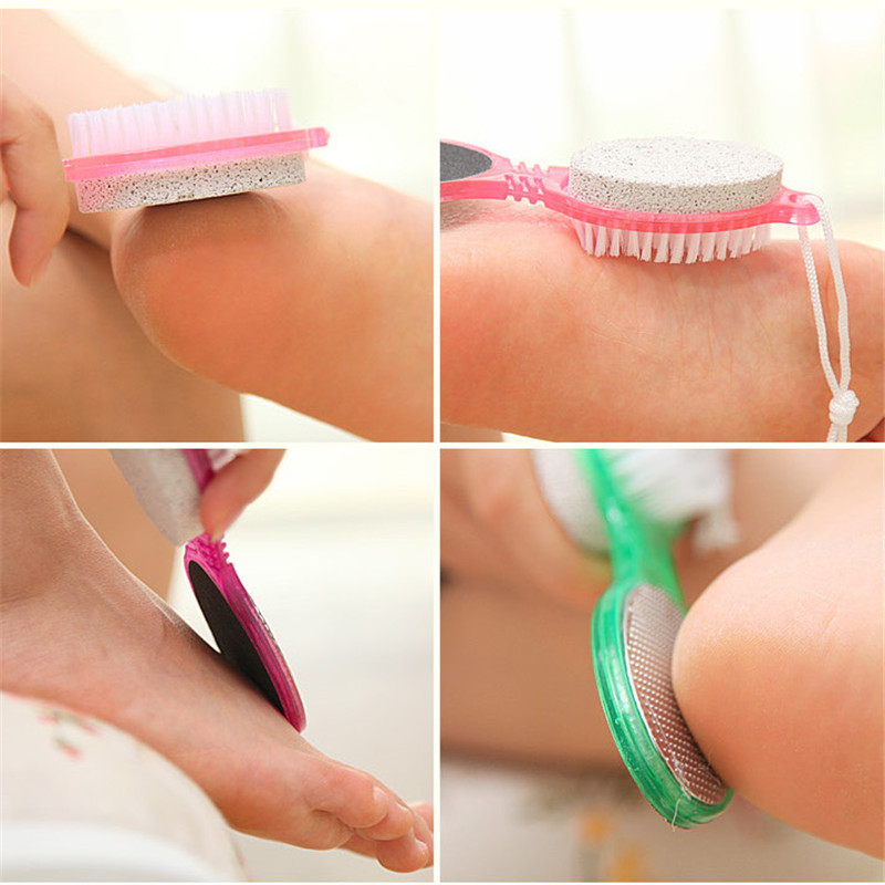 4 in 1 Multi-fuction Foot File Foot Pumice Stone Dead Skin Scrubber Remover Exfoliating Brush Tools