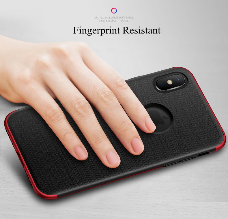 Bakeey 360° Full Body Brushed Finish Anti Fingerprint Case+Tempered Glass Screen Protector For iPhone X