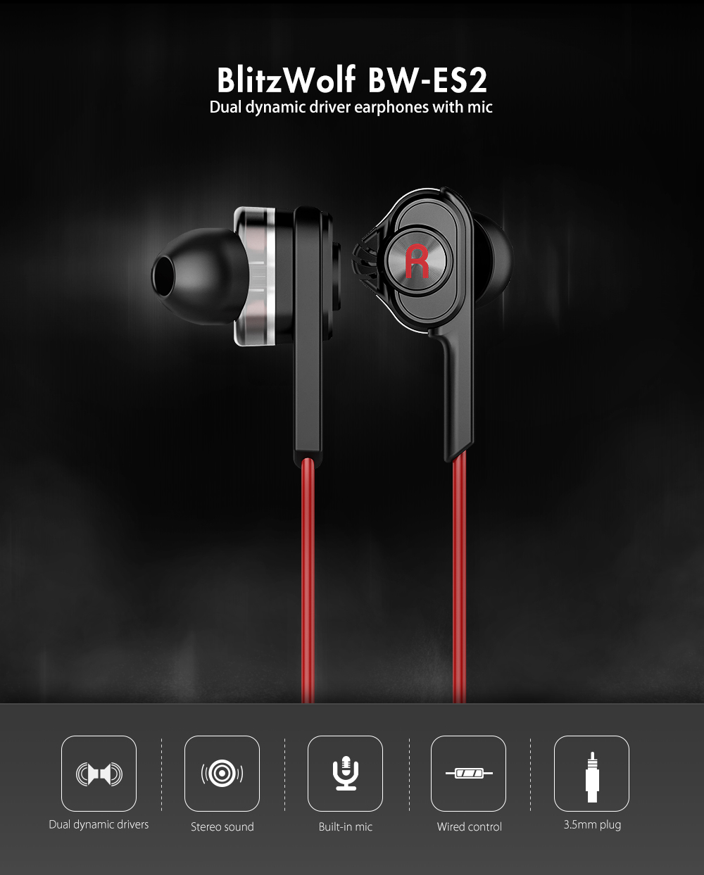 BlitzWolf? BW-ES2 3.5mm Dual Dynamic Driver Earphone Headphone With Mic