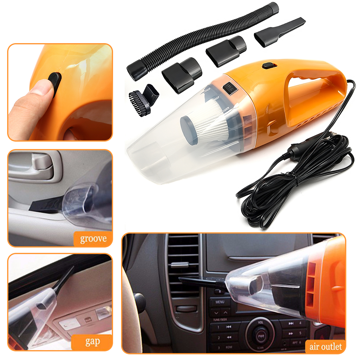 2 Colors 120W DC12V Wet And Dry Handheld Portable Car Vacuum Cleaner