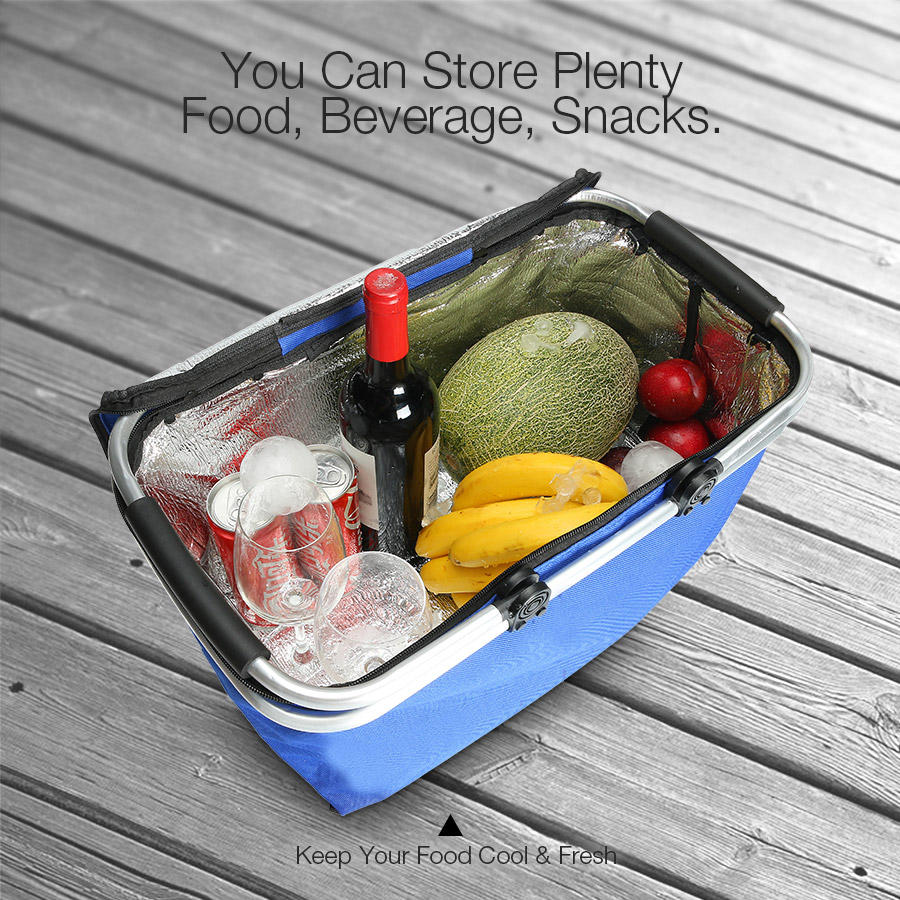 KCASA KC-BB474 Folding Picnic Basket Portable Insulated Camping Cooler Outdoor BBQ Food Organizer