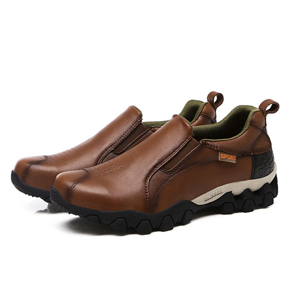 Men Genuine Leather Wear Resistant Outsole Elastic Band Slip On Sneakers