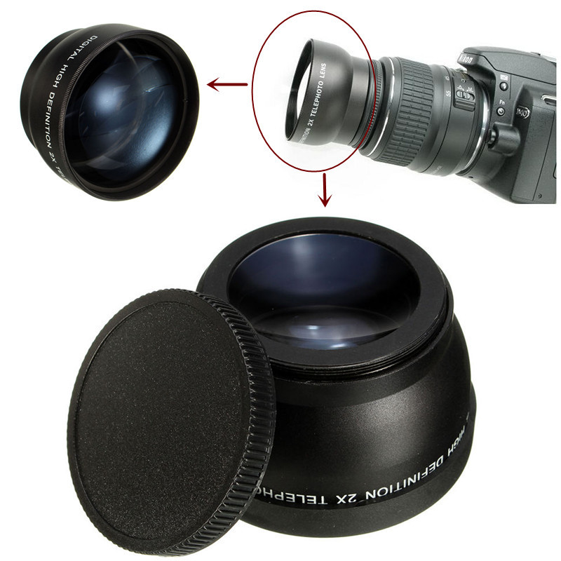 58mm 2x Magnification Telephoto Lens for Canon Eos Nikon Pentax DSLR Camera