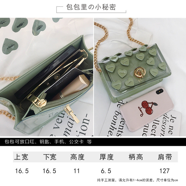 Bag Female New Love Stitching Contrast Color Transparent Jelly Package Ins Wind Net Red Girl Wild Messenger Bag