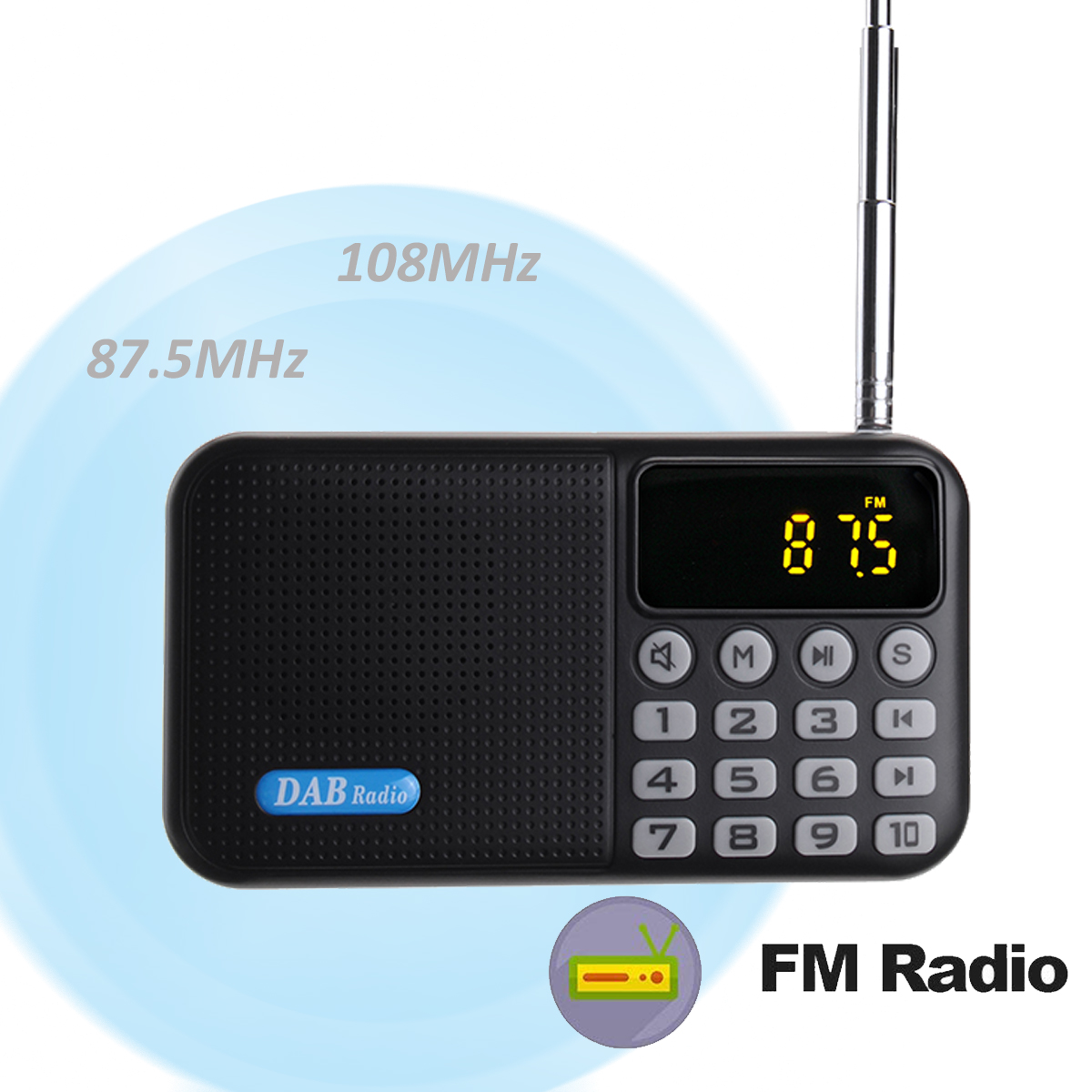 Portable DAB Plus DAB FM Digital Radio Receiver Music Speaker MP3 Player Support USB AUX TF Card
