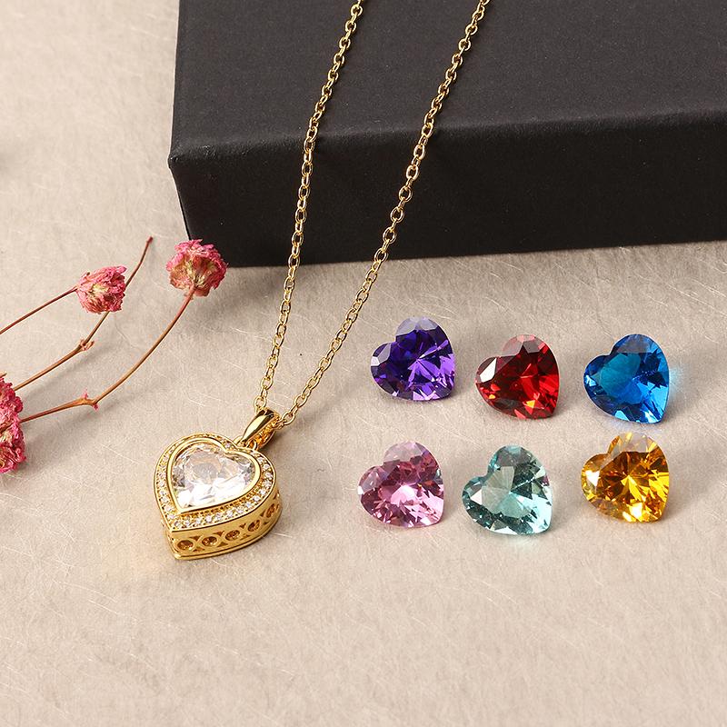 Купить Позолоченное ожерелье JASSY® с 7 различными цветными драгоценными камнями Сердце Кулон Fine Женское Jewelry