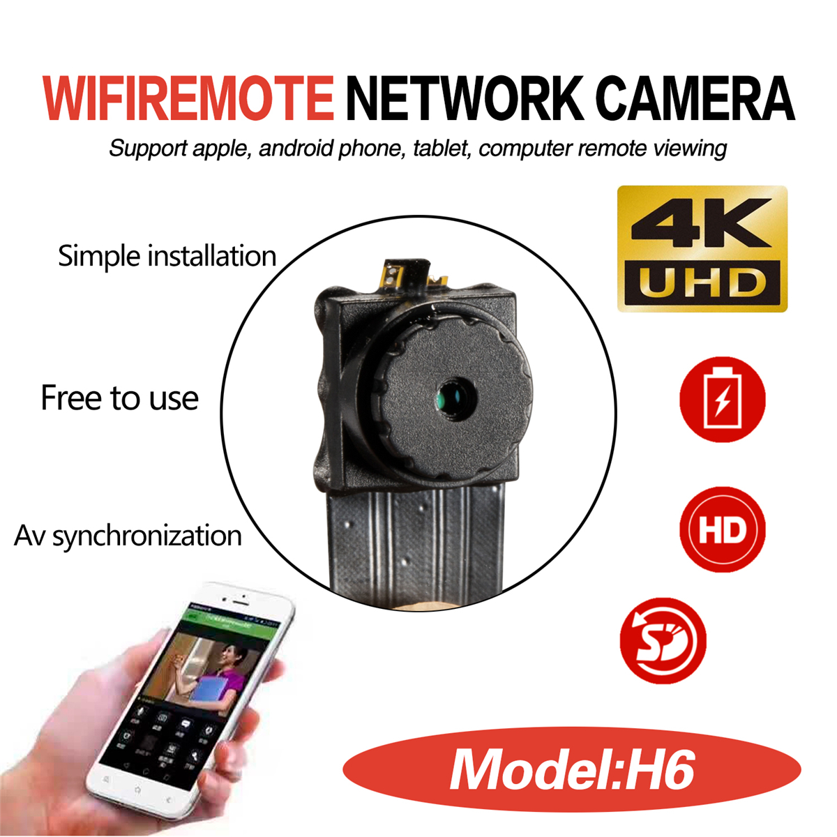 1080P 4K Wireless WiFi IP Camera Looping Recording Buit in Lithium Battery