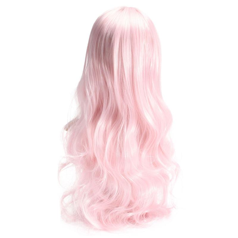 Cosplay Pink Curly Hair Wig Long Wavy Women Harajuku Wigs 70cm