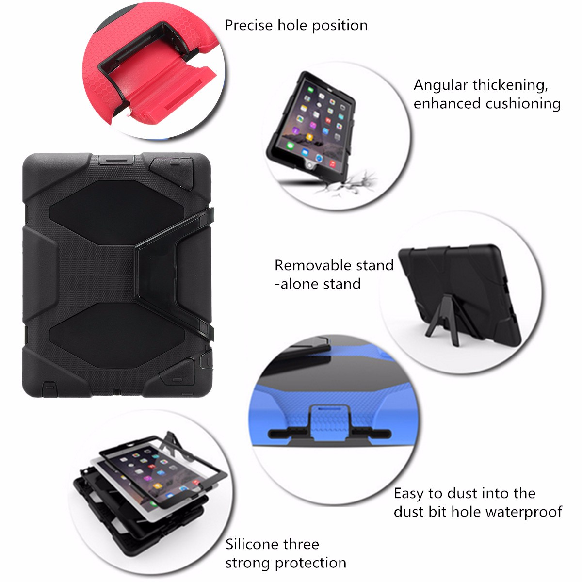 Shockproof Heavy Duty Hard Tablet Case Cover With Stand For Apple iPad 2 3 4