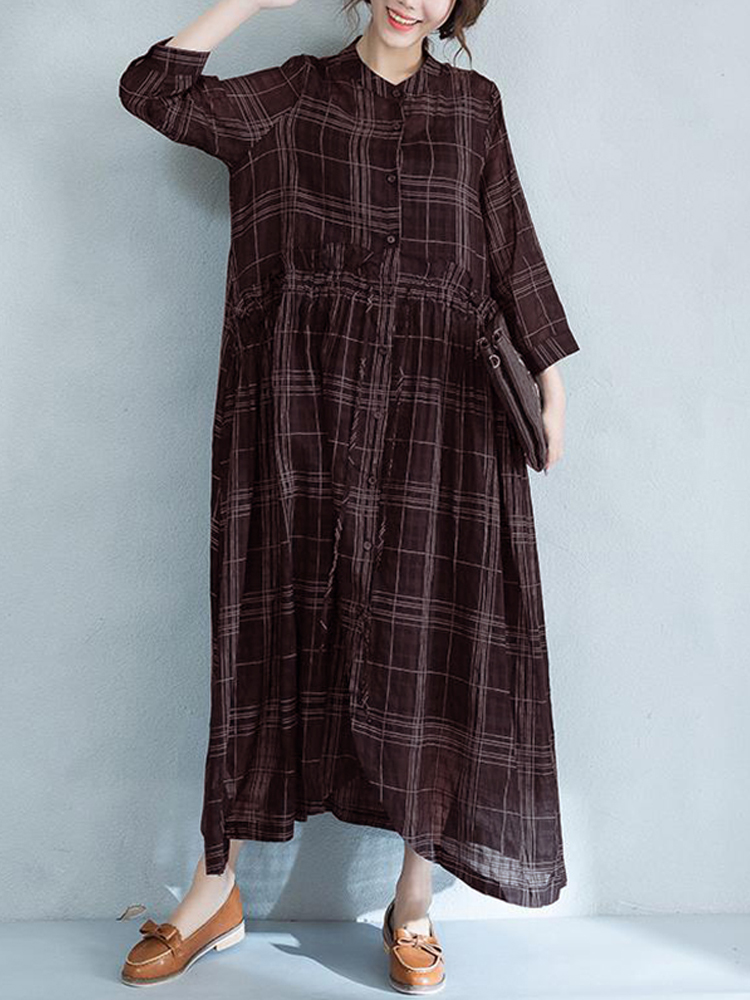 Women Casual Long Sleeve Adjustable Buttons Down Plaid Dress