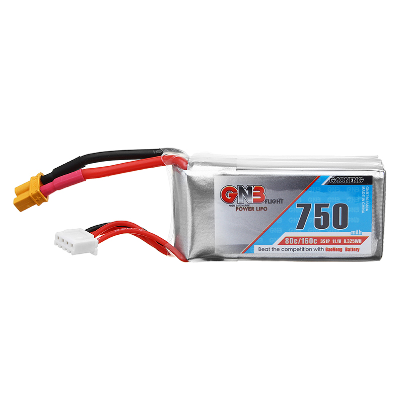 Gaoneng GNB 11.1V 750mAh 80C 3S XT30 Plug Lipo Battery for FPV Racing Drone