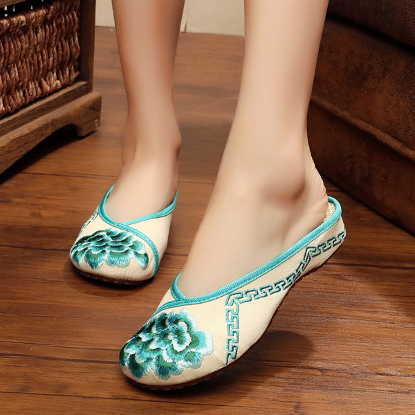 Women Cloth Canvas Embroidery Floral Round Toe Flat Slipper Shoes