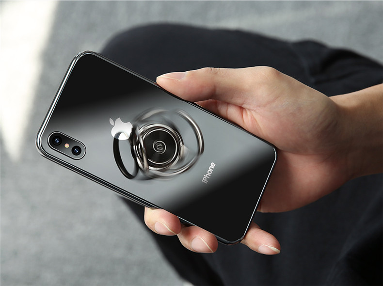 USAMS Metal 360 Degree Rotation Finger Ring Holder Desktop Stand for iPhone 8 X Xiaomi Mobile Phone