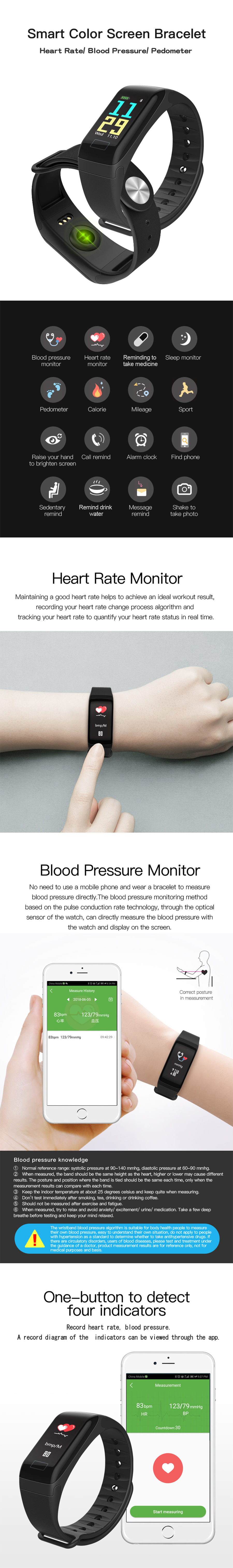 R3C Smart Bracelet Color Screen Heart Rate Blood Pressure Monitor Sport Mode Smart Watch