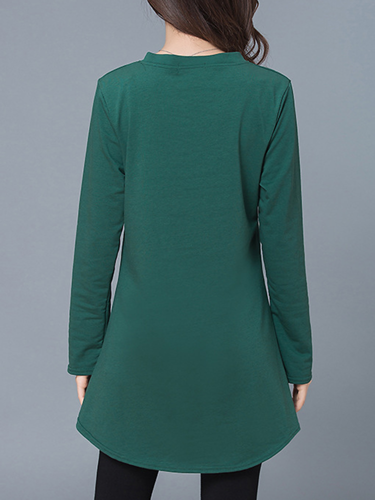 Casual Women V-Neck Horn Patchwork Pure Color Long Sleeve Dresses