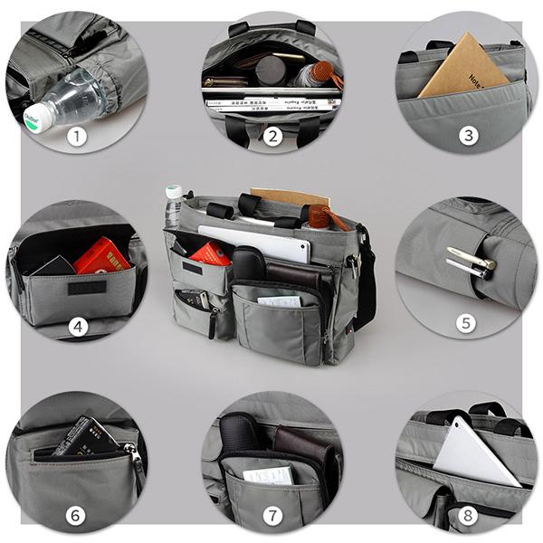 Men Nylon Multi-pocket Handbag For 14 Inch Computer Business