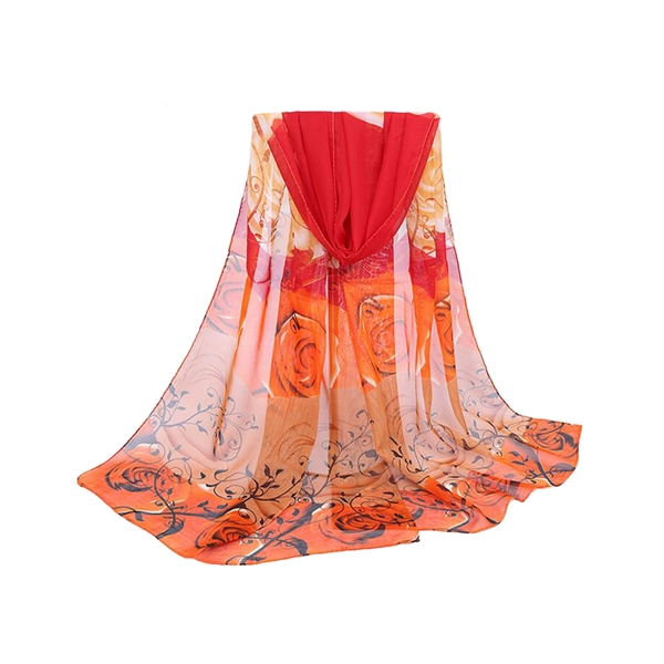 Fashion Durable Women Rose Printing Scarf Soft Long Elegant Wrap Shawl Scarf