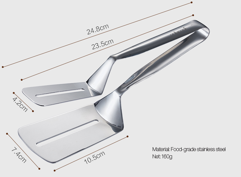 Multi-function Food Grade Stainless Steel BBQ Tongs Barbecue Bread Beef Steak Turner With Clamp Clip