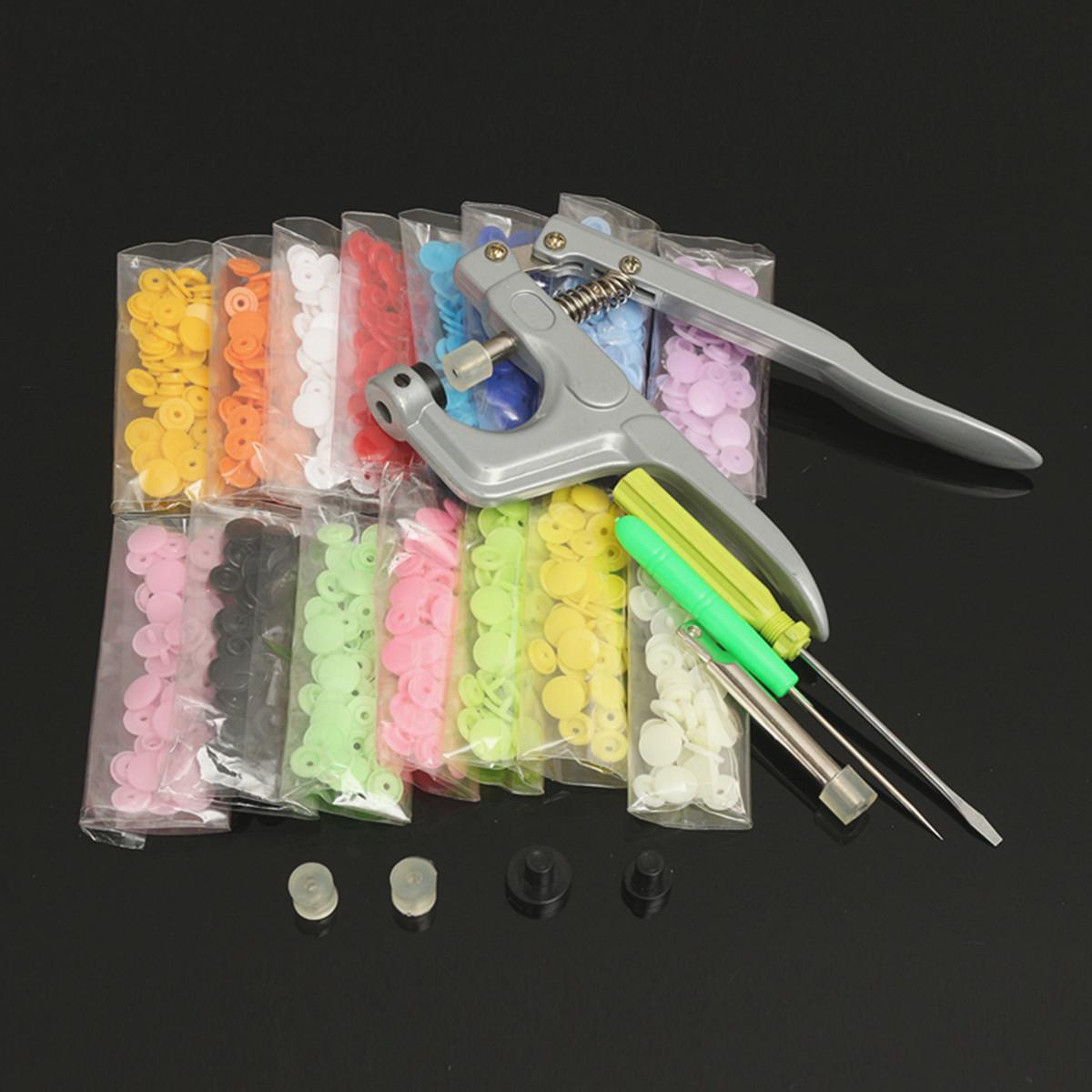 150Pcs/Set Plastic Resin T5 Fastener Snap Kam Buttons Pliers Kit DIY Crafts