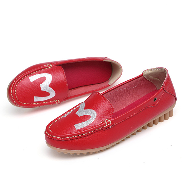 Lovely Casual Slip On Soft Leather Round Toe Flat Shoes