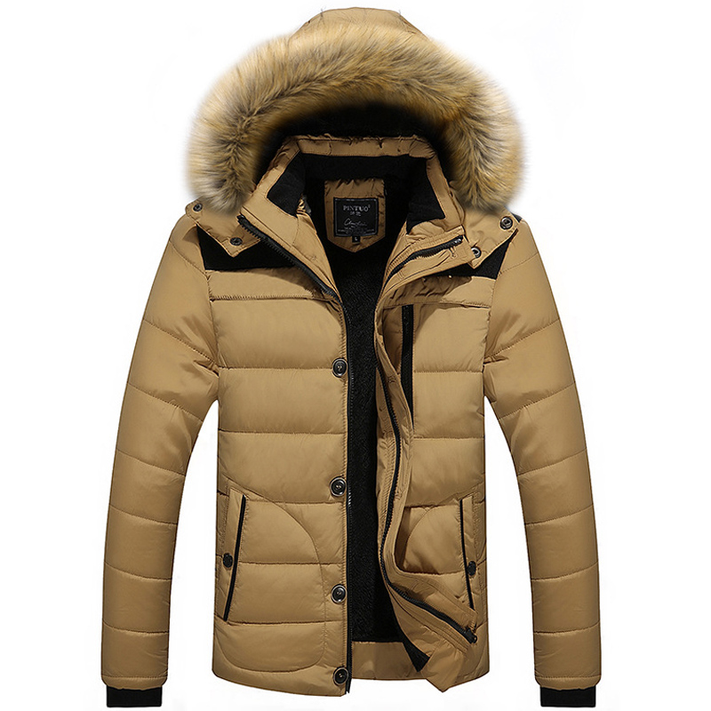 Mens Thick Winter Hooded Detachable Splice Big Size Jacket