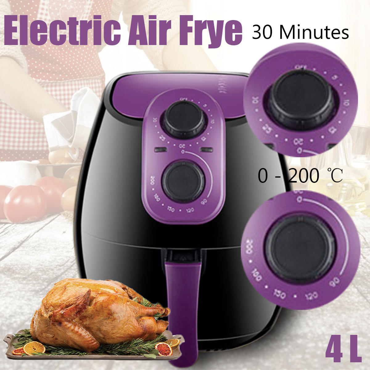 4L Electric Air Fryer 0-200 ℃ No Oil Heathly Kitchen Cooker 1300W French Fries